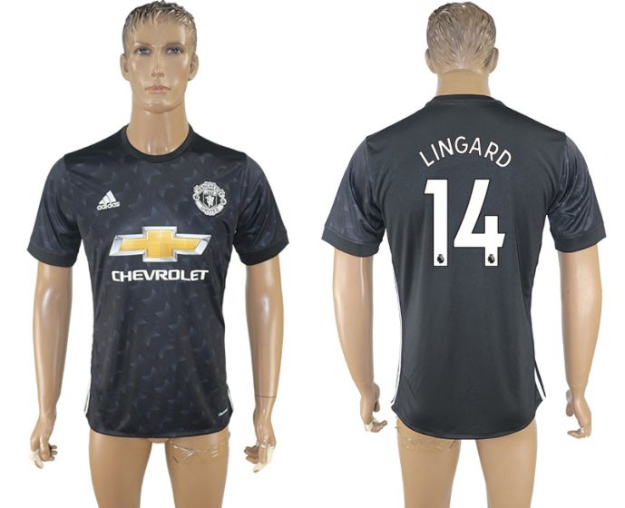 Men 2017-2018 club Manchester united away aaa version 14 black soccer jersey
