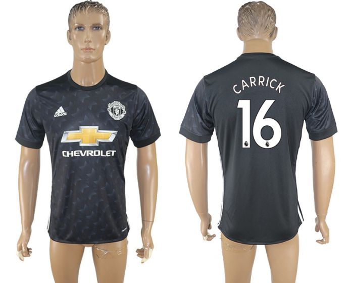 Men 2017-2018 club Manchester united away aaa version 16 black soccer jersey