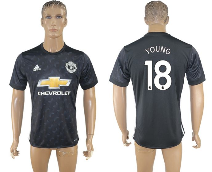 Men 2017-2018 club Manchester united away aaa version 18 black soccer jersey
