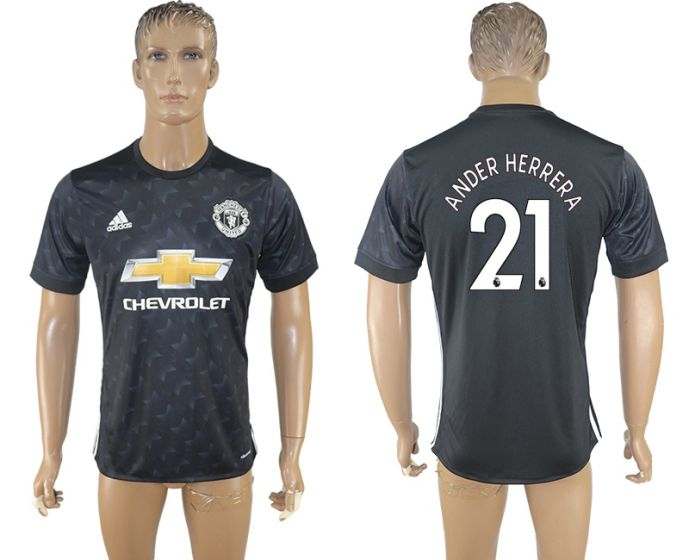 Men 2017-2018 club Manchester united away aaa version 21 black soccer jersey