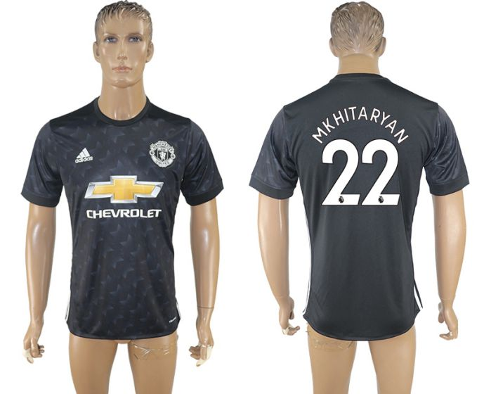 Men 2017-2018 club Manchester united away aaa version 22 black soccer jersey