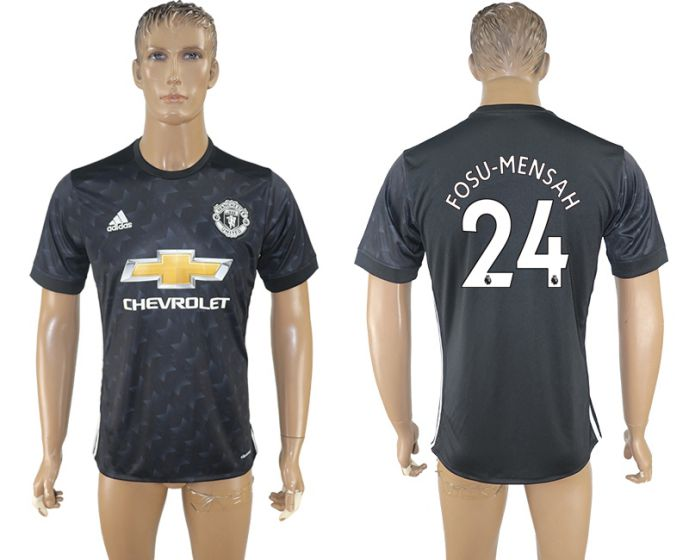 Hommes 2017-2018 club Manchester uni away aaa version 24 maillot de football noir