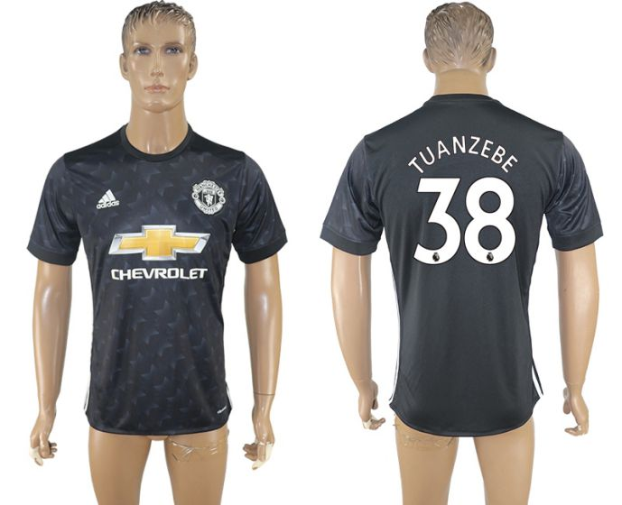 Men 2017-2018 club Manchester united away aaa version 38 black soccer jersey