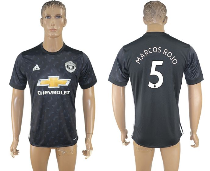 Men 2017-2018 club Manchester united away aaa version 5 black soccer jersey