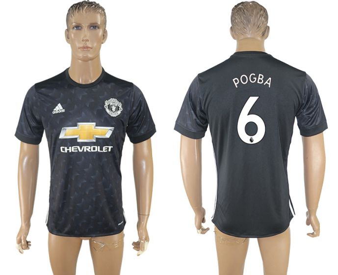 Men 2017-2018 club Manchester united away aaa version 6 black soccer jersey