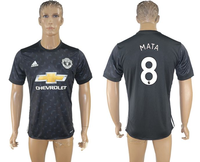 Men 2017-2018 club Manchester united away aaa version 8 black soccer jersey