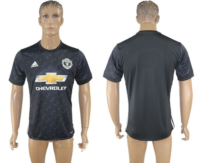 Men 2017-2018 club Manchester united away aaa version black soccer jersey