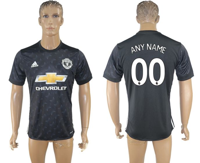 Men 2017-2018 club Manchester united away aaa version customized black soccer jersey
