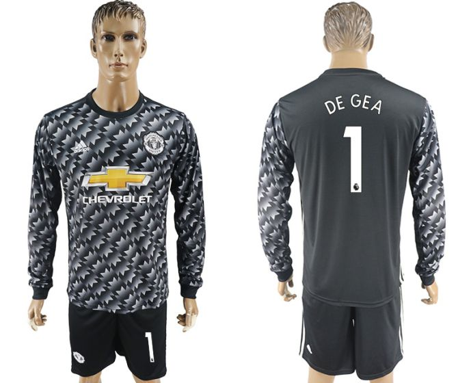 Men 2017-2018 club Manchester united away long sleeve 1 Soccer jersey