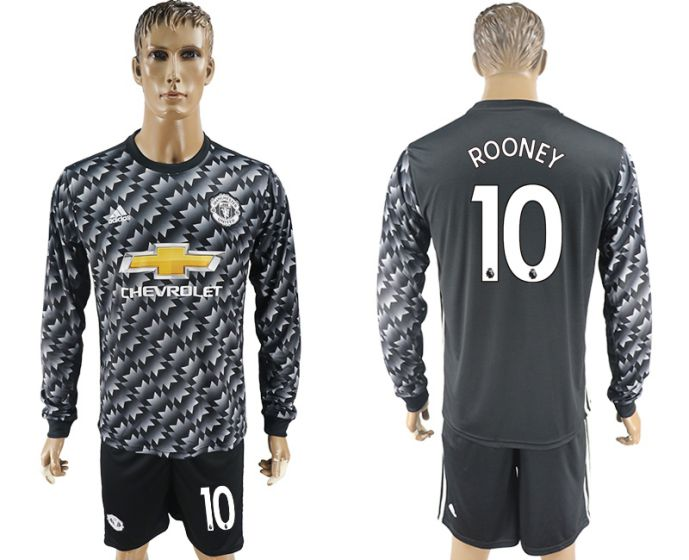 Men 2017-2018 club Manchester united away long sleeve 10 Soccer jersey