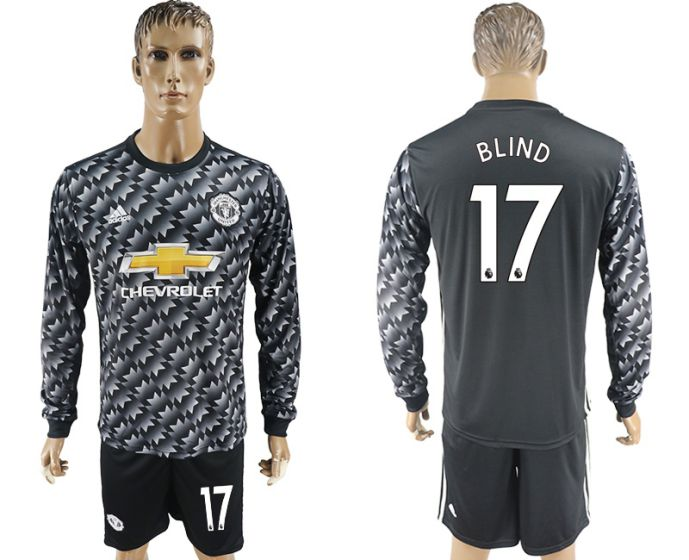 Men 2017-2018 club Manchester united away long sleeve 17 Soccer jersey