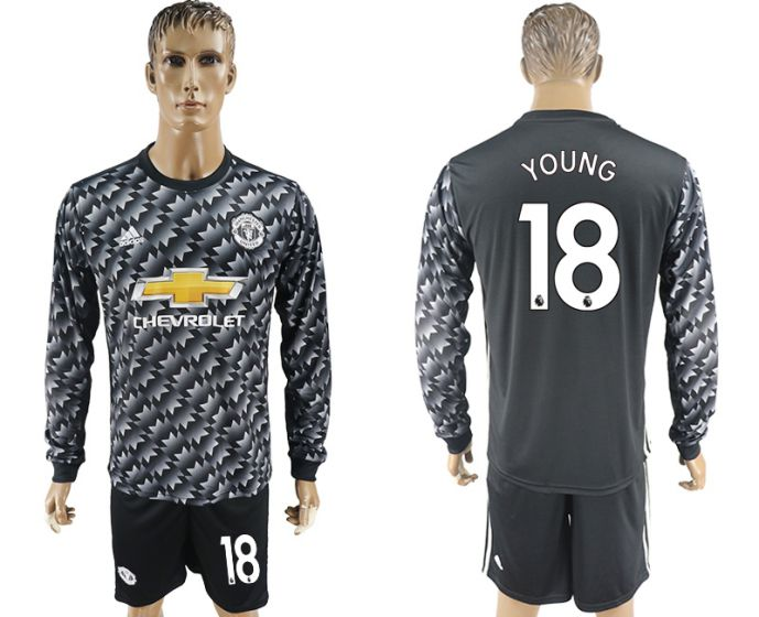 Men 2017-2018 club Manchester united away long sleeve 18 Soccer jersey