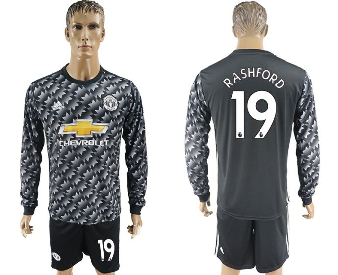 Men 2017-2018 club Manchester united away long sleeve 19 Soccer jersey