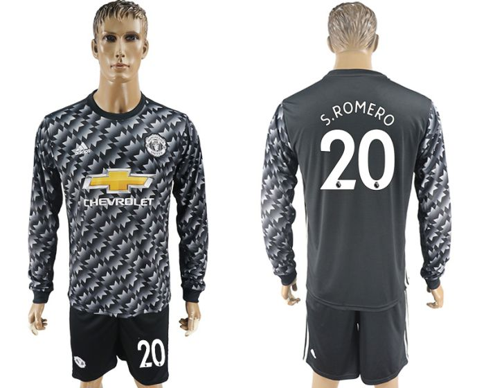 Men 2017-2018 club Manchester united away long sleeve 20 Soccer jersey