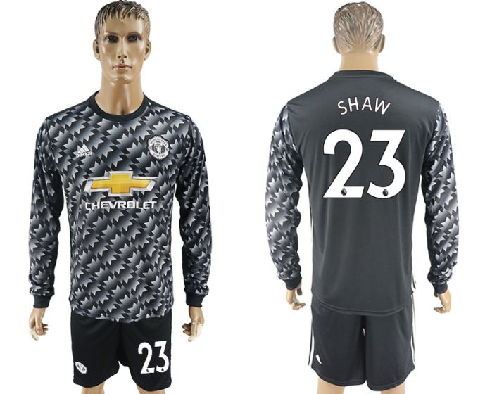 Men 2017-2018 club Manchester united away long sleeve 23 Soccer jersey
