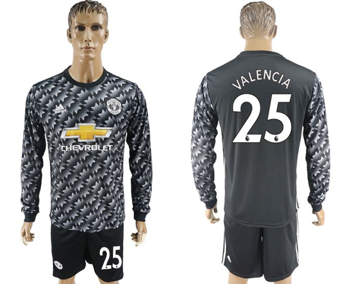 Men 2017-2018 club Manchester united away long sleeve 25 Soccer jersey