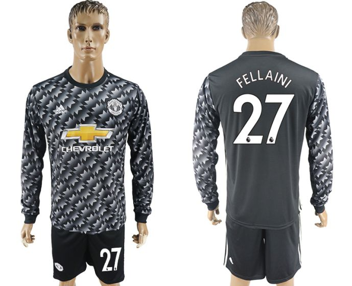Men 2017-2018 club Manchester united away long sleeve 27 Soccer jersey