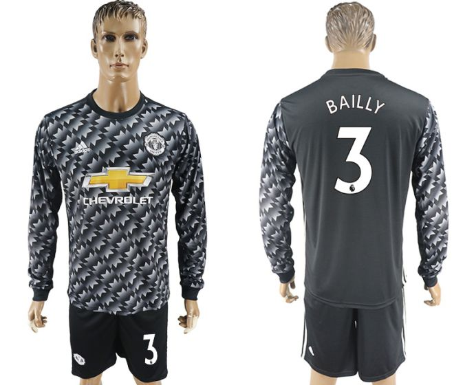 Men 2017-2018 club Manchester united away long sleeve 3 Soccer jersey