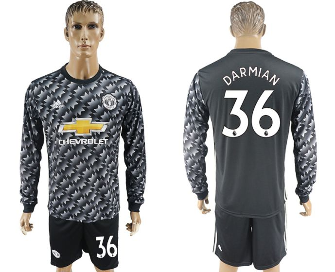 Men 2017-2018 club Manchester united away long sleeve 36 Soccer jersey