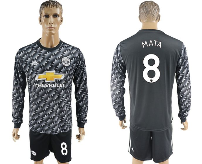 Men 2017-2018 club Manchester united away long sleeve 8 Soccer jersey