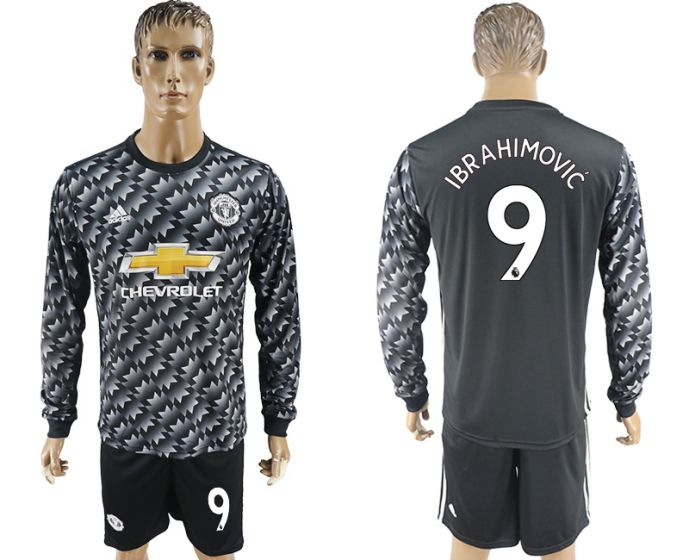 Men 2017-2018 club Manchester united away long sleeve 9 Soccer jersey