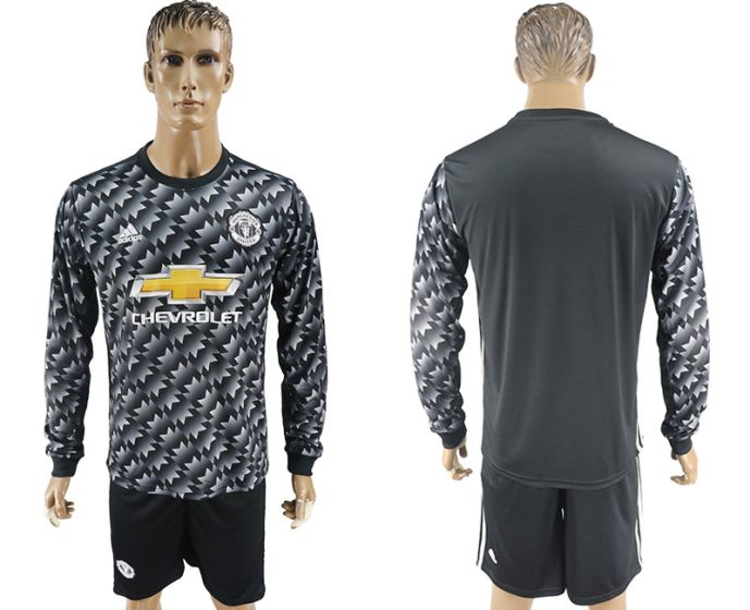 Men 2017-2018 club Manchester united away long sleeve Soccer jersey