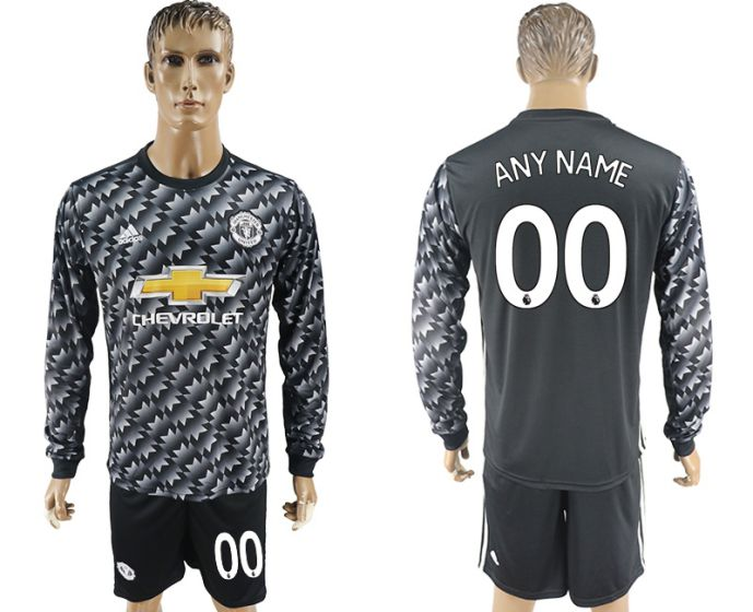 Men 2017-2018 club Manchester united away long sleeve customized Soccer jersey