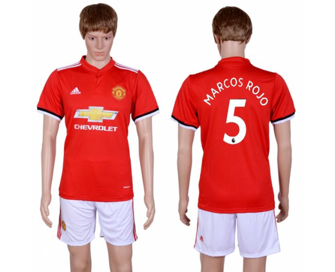 Men 2017-2018 club Manchester united home 5 red Soccer jersey