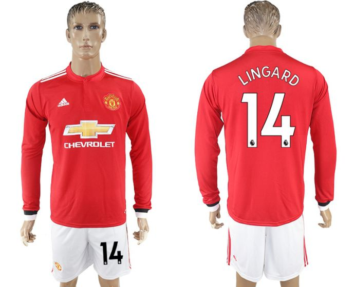 Men 2017-2018 club Manchester united home long sleeve 14 Soccer jersey