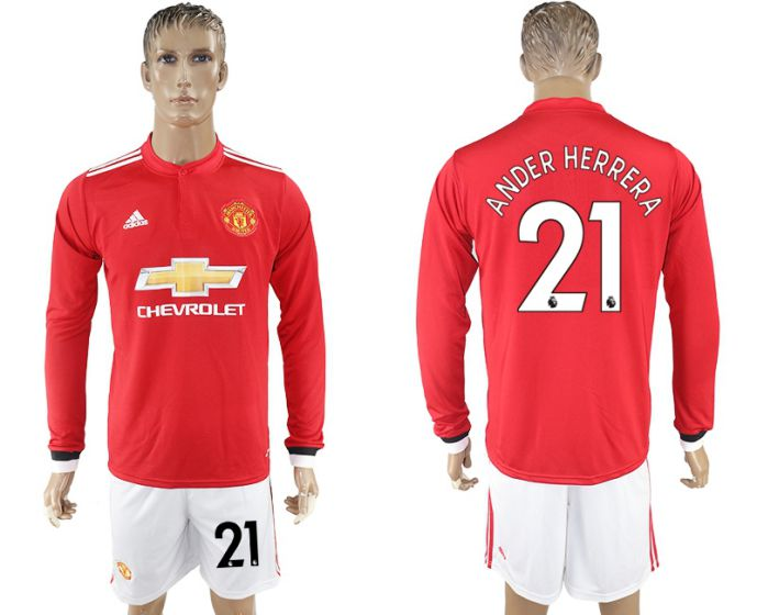 Men 2017-2018 club Manchester united home long sleeve 21 Soccer jersey