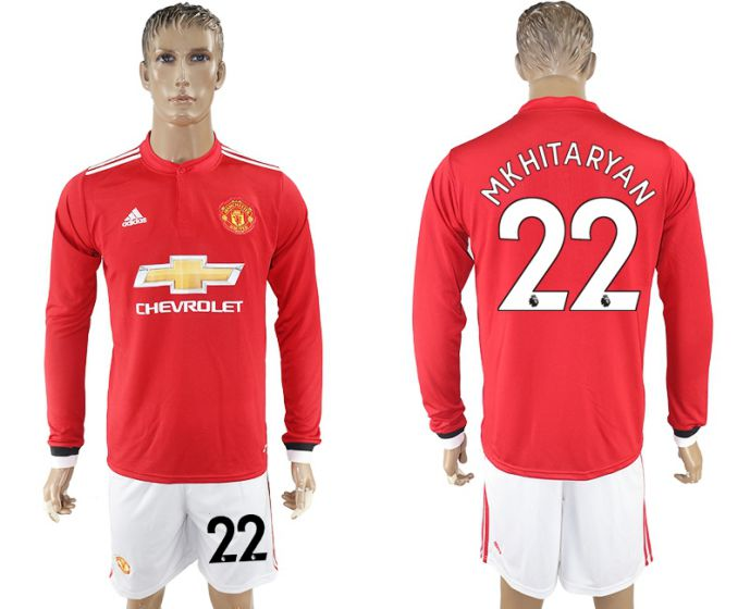 Men 2017-2018 club Manchester united home long sleeve 22 Soccer jersey
