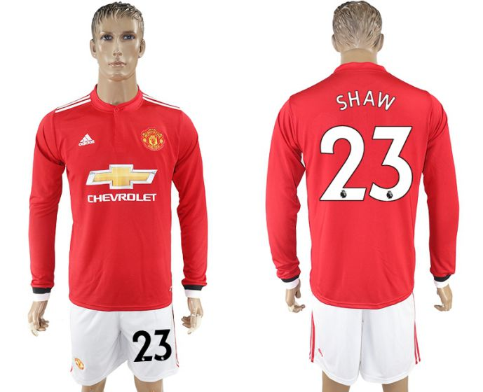 Men 2017-2018 club Manchester united home long sleeve 23 Soccer jersey