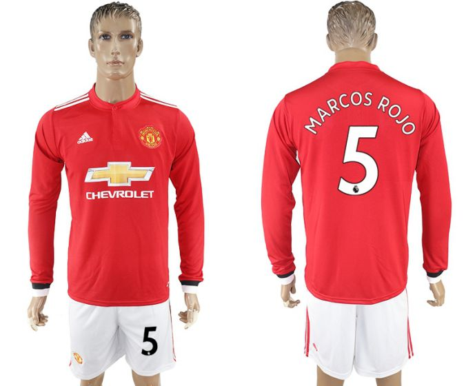 Men 2017-2018 club Manchester united home long sleeve 5 Soccer jersey