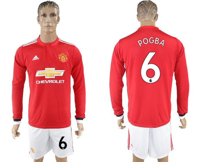 Men 2017-2018 club Manchester united home long sleeve 6 Soccer jersey