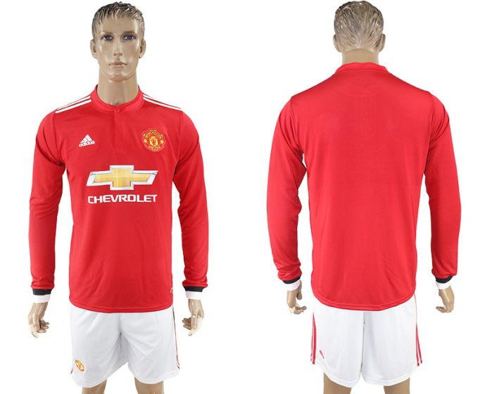 Men 2017-2018 club Manchester united home long sleeve Soccer jersey