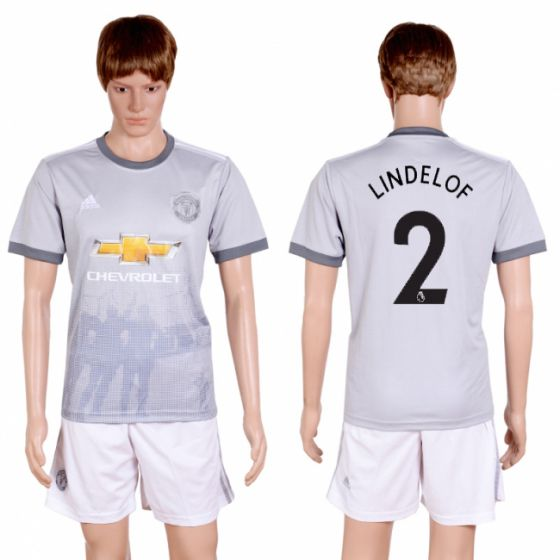 Men 2017-2018 club Manchester united second away 2 grey soccer jersey