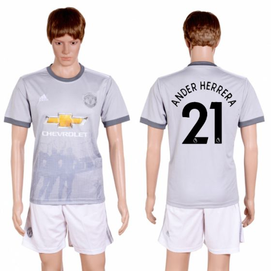 Men 2017-2018 club Manchester united second away 21 grey soccer jersey