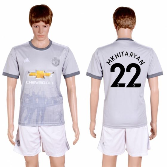 Men 2017-2018 club Manchester united second away 22 grey soccer jersey