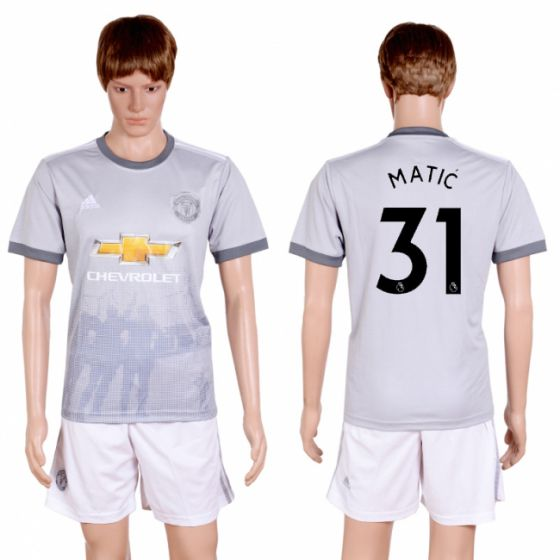 Men 2017-2018 club Manchester united second away 31 grey soccer jersey