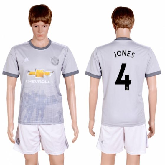 Men 2017-2018 club Manchester united second away 4 grey soccer jersey