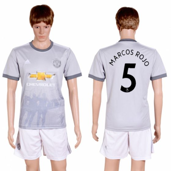 Men 2017-2018 club Manchester united second away 5 grey soccer jersey