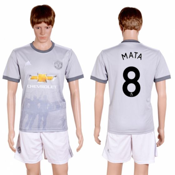 Men 2017-2018 club Manchester united second away 8 grey soccer jersey