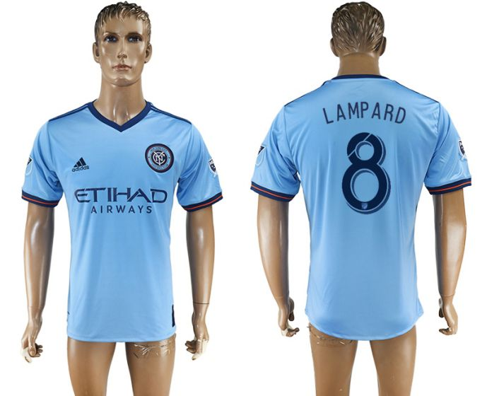 Men 2017-2018 club New York City FC home aaa version 8 blue soccer jersey
