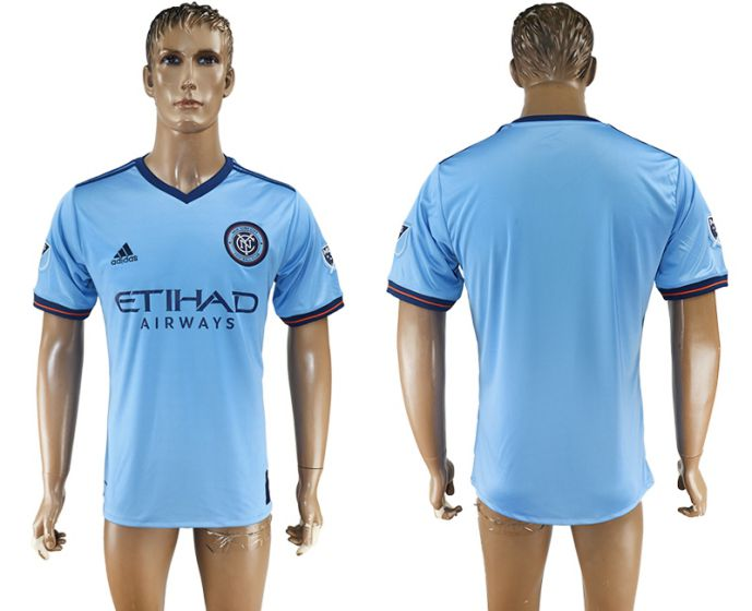 Men 2017-2018 club New York City FC home aaa version blue soccer jersey