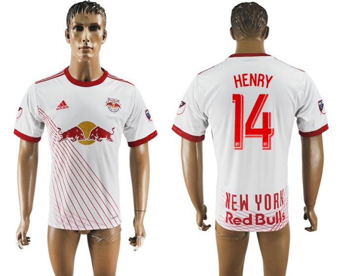 Men 2017-2018 club New York Red Bulls home aaa version 14 white soccer jersey