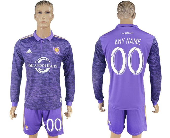 Men 2017-2018 club Orlando City home long sleeve customized soccer jersey