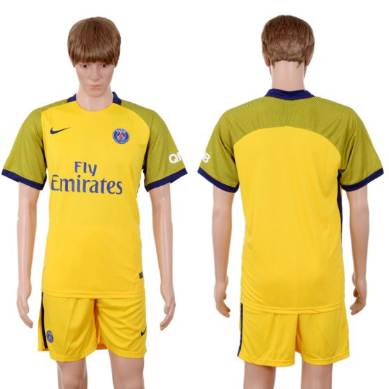 Men 2017-2018 club Paris St Germain away Blank Yellow soccer jersey