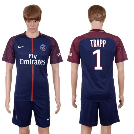 Men 2017-2018 club Paris St Germain home 1 blue soccer jersey