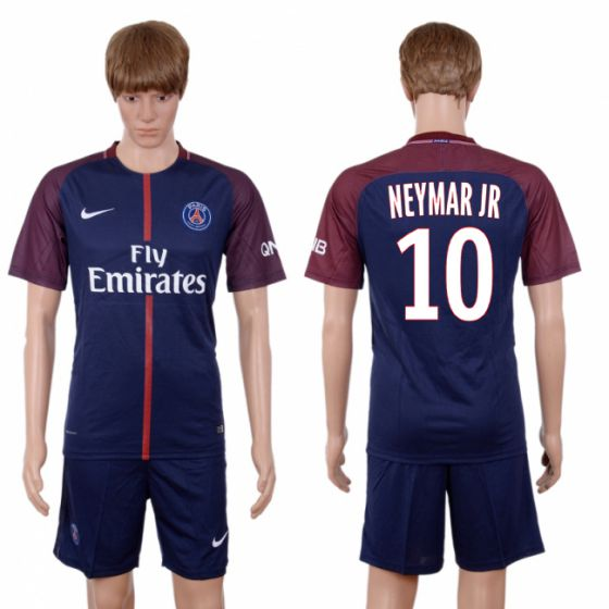 Men 2017-2018 club Paris St Germain home 10 blue soccer jersey