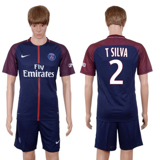 Men 2017-2018 club Paris St Germain home 2 blue soccer jersey